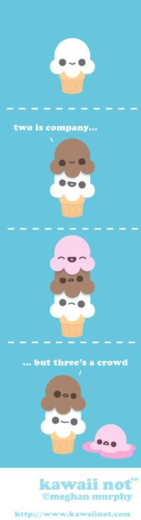 Kawaii Not - Triple Scooped xD cute ice cream Cute Comics, Funny Comics, Cute Puns, Funny Puns, Cute Drawings, Simple Drawings, All Things Cute, Funny Things, 4 Panel Life