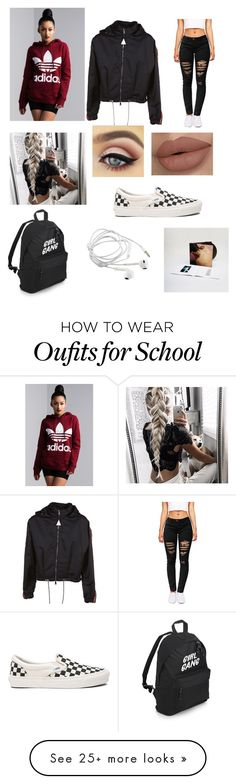 """Just another day at school"" by taya5757 on Polyvore featuring adidas, Moncler and Vans"