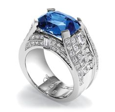 Bridge by Harry Winston, Sapphire and Diamond Ring. 90 round brilliant and baguette diamonds, total carats; Sapphire Birthstone, Sapphire Jewelry, Blue Sapphire Rings, Diamond Jewelry, Peach Sapphire, Blue Rings, Sapphire Diamond, Harry Winston, Beautiful Rings