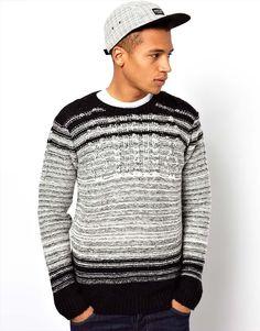 Bellfield Ombre Stripe Cable Knit Sweater // Jarren?