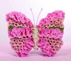 Butterfly of orchids and chrysanthemums