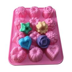 Allforhome(TM) 12 Cavities Flowers Silicone Soap Molds Ice Lattice Chocolate Candy Making Molds Polymer Clay Handmade Craft Art DIY Mold