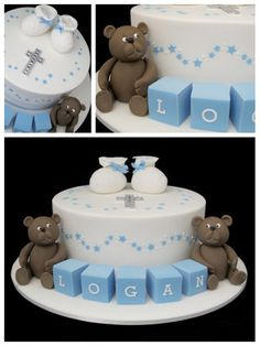 boys christening cake with teddy bears and booties inspired by michelle cake designs