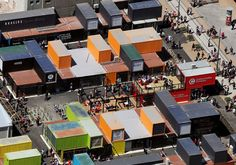 Shipping containers replace Cashel Mall in Christchurch NZ after massive earthquake. Took only 4 months to build. Container Restaurant, Container Shop, Cargo Container, Container House Design, Container Architecture, Container Buildings, Shipping Container Design, Shipping Containers, Container Conversions