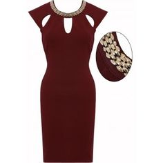 LOVARNI Oxblood Necklace Detail Cut Out Textured Pencil Dress