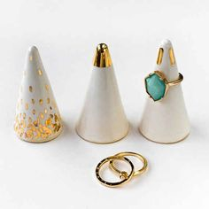 White and gold ring cone, $34