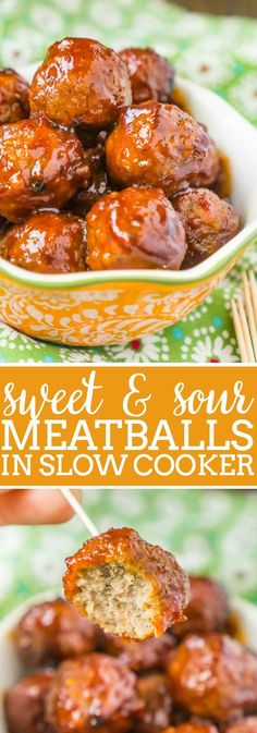 Slow Cooker Sweet and Sour Meatballs are always a big hit! With only a few ingredients and 5 minutes of prep, they're the perfect game day food and easy dinner idea!   The Love Nerds #meatballrecipe #gamedayrecipe #appetizerrecipe via @lovenerdmaggie