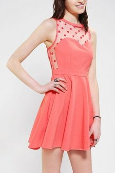 Coincident & Chance Mesh Dot Dress on sale for $14.99