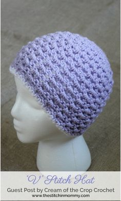 V Stitch Adult Hat - free crochet pattern by Cream Of The Crop Crochet for The Stitchin' Mommy.