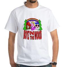 Boyz In The Wood T Shirt  #parody #spoof #fantasy #mythology #apeman #sasquatch #monkey #bigfoot #unicorn #dwarf #gnome #rainbow #cartoon #characters #funny #humor #drawing #illustration #shirts #men