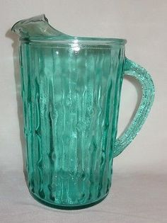 Vintage-Glass-Picture-Water-Lemonade-Bamboo-Pattern-Two-Liters