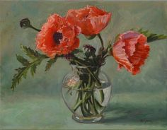"""""""Poppies in a Glass Vase,"""" painting by Sandra Corpora"""