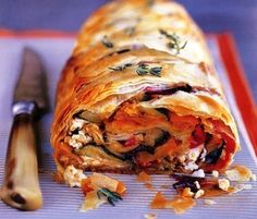 Mediterranean Roasted Vegetable Strudel - substitute olives and sundried tomato for feta Vegetarian Dinners, Vegetarian Recipes, Cooking Recipes, Healthy Recipes, Quiches, Strudel Recipes, Veggie Dinner, Roasted Vegetables, Veggies