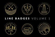 Line Badges - Volume 1 - APLICAÇÕES SUPORTADAS  Adobe Illustrator, Adobe Photoshop  TIPOS DE ARQUIVO  AI, EPS, PSD - IA Produtos