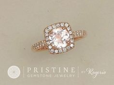 Blush Pink Peach Sapphire Engagement Ring Rose Gold Cushion Shape Diamond Halo Weddings Anniversary