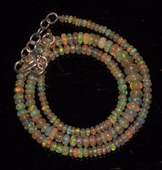 """42 CTW 3-5.5 MM 16""""NATURAL GENUINE ETHIOPIAN WELO FIRE OPAL BEADS NECKLACE-97861"""
