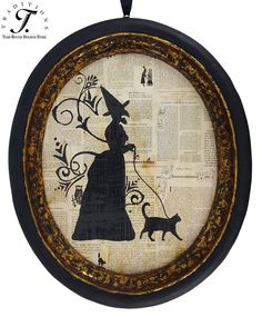 Great decoupage idea - witch and cat silhouette on book pages framed - so cute for Halloween decor! Retro Halloween, Holidays Halloween, Halloween Crafts, Happy Halloween, Halloween Decorations, Halloween Party, Halloween Painting, Halloween Witches, Halloween 2013