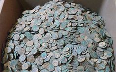 The 2,200 coin hoard featured in our blog.