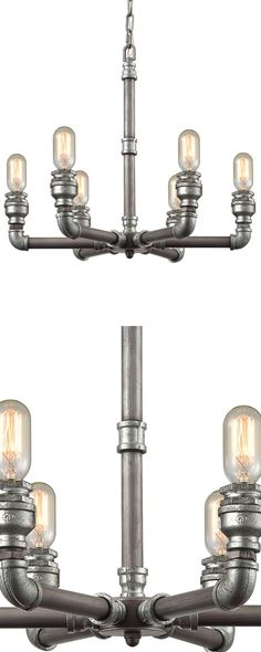 The iconic Victorian-inspired candelabra chandelier gets a stylish industrial-inspired update. Supported by handsome zinc-finished pipe and bracket style framing, this Systematic Chandelier has a chic,... Find the Systematic Chandelier, as seen in the Hip Urban Loft Collection at http://dotandbo.com/collections/hip-urban-loft?utm_source=pinterest&utm_medium=organic&db_sku=122914