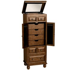 The Ashworth Jewelry Armoire features storage for all of your favorite jewelry and accessories. With velvet-lined drawers for storing scarves, and ring holders and necklace hooks on each door, this armoire offers spacious storage and is a Pier 1 exclusive.