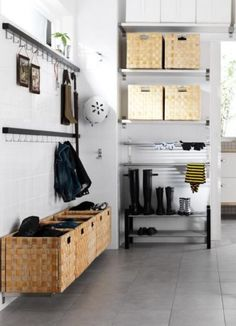 Best Idea Simple Mudroom Ideas Paired With Floating Storages Plus Long Wall Hooks And White Wall Paint Mud room Plans Ideas for Dirty Clothes