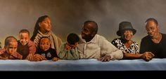 Detail of 13 foot long family/friend portrait I did for a restaurant.