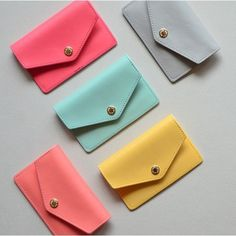 Lovelyborn synthetic leather card case holder by Jam studio. Carry cards and bills on the Lovelyborn card case for your convenience. Fallindesign.com Leather Accessories, Leather Jewelry, Leather Card Case, Modern Wallet, Leather Projects, Leather Crafts, Kawaii Bags, Kam Snaps, Cute Wallets