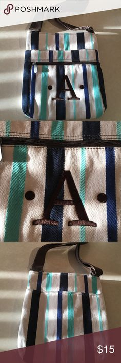 """NWOT Thirty-One Organizing Shoulder Bag NWOT Cabana Twill Stripe with Brown embroidered """"A"""" Bags Crossbody Bags"""