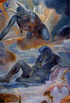 """Mercurio y Argos (según """"Mercurio y Argos"""" de Vélazquez, Museo del Prado) Salvador Dalí - 1981. Óleo sobre lienzo. 140 x 95 cm. Fundación Gala-Salvador Dalí. Donación de Dalí al Estado español. Figueras. España."""