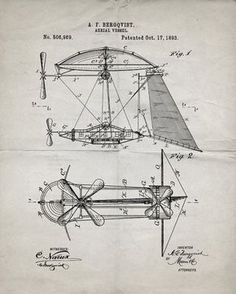 You will love this unique archive print of an 1893 Steampunk Airship patent, presented as a vintage industrial or steampunk style drawing. It is part of our curated collection of the most unique, nove