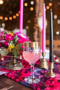 Romantic Raspberry and Gold Farm Wedding