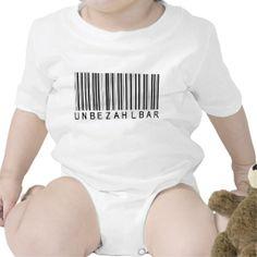 """Baby Shirt """"Barcode black UNBEZAHLBAR"""". Individueller Text kann hinzugefügt werden. Grafik und Entwurf bei ArianneGrafX2014"""