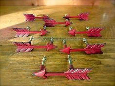 8 Red Feather Arrow Cabinet Pulls Drawer Door Handles Rustic Cast Iron Hardware