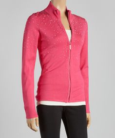 Haute Pink Rhinestone Zip-Up Cardigan