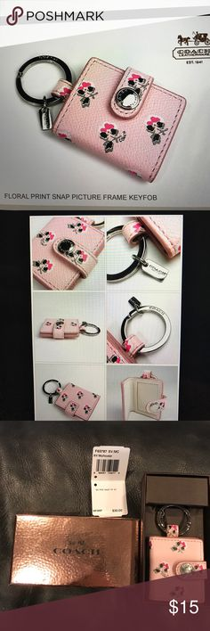 NWT Coach floral key chain photo holder New with tags and box, silver tone snap still had protective plastic covering intact, smoke free home Coach Accessories Key & Card Holders
