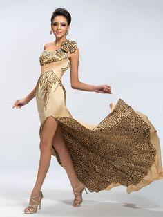 Sexy One-Shoulder A-Line Beading Split-Front Evening Dress Vintage Evening Dresses- ericdress.com 11037959