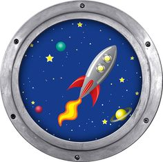 kids rocket spaceship in space with planets and by StyleAwall