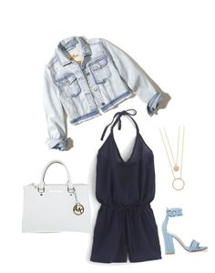 """""""romper, jean jacket & heels"""" by stylingsunshine on Polyvore featuring Hollister Co., J.Crew, Kate Spade, Gianvito Rossi and Michael Kors"""