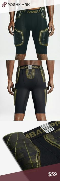 NWT NIKE PRO HYPER STRONG FOOTBALL SHORTS NEW NIKE NEW WITH TAGS COMPRESSION FOOTBALL SHORTS SNUG FIT COMPRESSION COLOR: BLACK/CAMO SIZE MEDIUM COMFORTABLE DRI FIT FABTIC, DE-TECH FOAM PADDING, HARD POLYPROPYLENE KNEE PLATES ALL OVER MESH FOR BREATHABILITY! #688547-010 *NO TRADES NO RETURNS* Nike Shorts Athletic