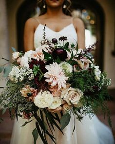 Plum, grape, aubergine, wine, or just dark purple burgundy maroon blush greenery fall autumn wedding bride bridal bouquet flowers