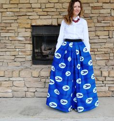SpeedBird long skirt/ African print maxi skirt/ Holland wax/ Blue bird/ African wax print/ African wax print clothing/rusteam