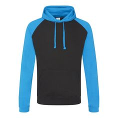 Just Hoods JH009 Jet Black and Sapphire Blue Baseball Hoodie - £15.75