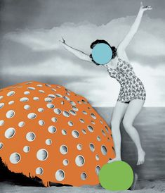 John Baldessari, Umbrella (Orange): With Figure and Ball (Blue, Green), 2004, Photo: Deutsche Guggenheim, © 2004 John Baldessari  This one is one of my favorites, because its fun and festive and has a happiness about it unlike his others, which can be a little confusing.