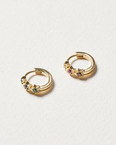 Rainbow Gem & Star Gold Plated Huggie Earrings | Oliver Bonas Oliver Bonas, Star Designs, Pink And Green, Gold Rings, Plating, Gems, Hoop Earrings, Wedding Rings, Rose Gold