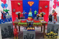 decoração-festa-vingadores-liga-justiça Avengers Birthday Cakes, Batman Birthday, Sons Birthday, 2nd Birthday Parties, Superman Party, Superhero Baby Shower, Superhero Theme Party, Party Themes, Party Ideas