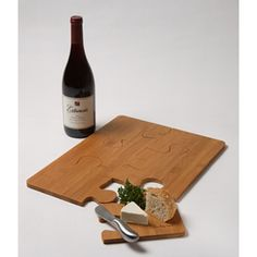 Bamboo Puzzle Serving Tray and Bamboo Cutting Board 2 piece set