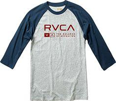 RVCA Men's Associate 3/4 Sleeve Shirt, Athletic Heather, X-Large - http://shop.dailyskatetube.com/product/rvca-mens-associate-34-sleeve-shirt-athletic-heather-x-large/ -  three/four sleeve baseball raglan t-blouse Entrance monitor print Screened inside of neck main points  -