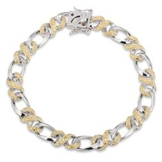 """Enhanced Yellow Diamond Accent Infinity Braid Bracelet in Sterling Silver and 18K Gold Plate - 7.25"""""""