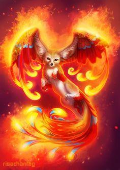 Phoenix Fox by *Risachantag on deviantART