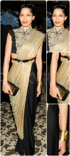Freida Pinto attended A Small World gala at Gstaad looking elegant in an Anamika Khanna ensemble. A Pinky Saraf clutch and Aquamarine cuff completed . Bollywood Saree, Bollywood Fashion, Madhuri Dixit Saree, Sabyasachi, Freida Pinto, Anamika Khanna, Latest Fashion Dresses, Saree Styles, Indian Fashion